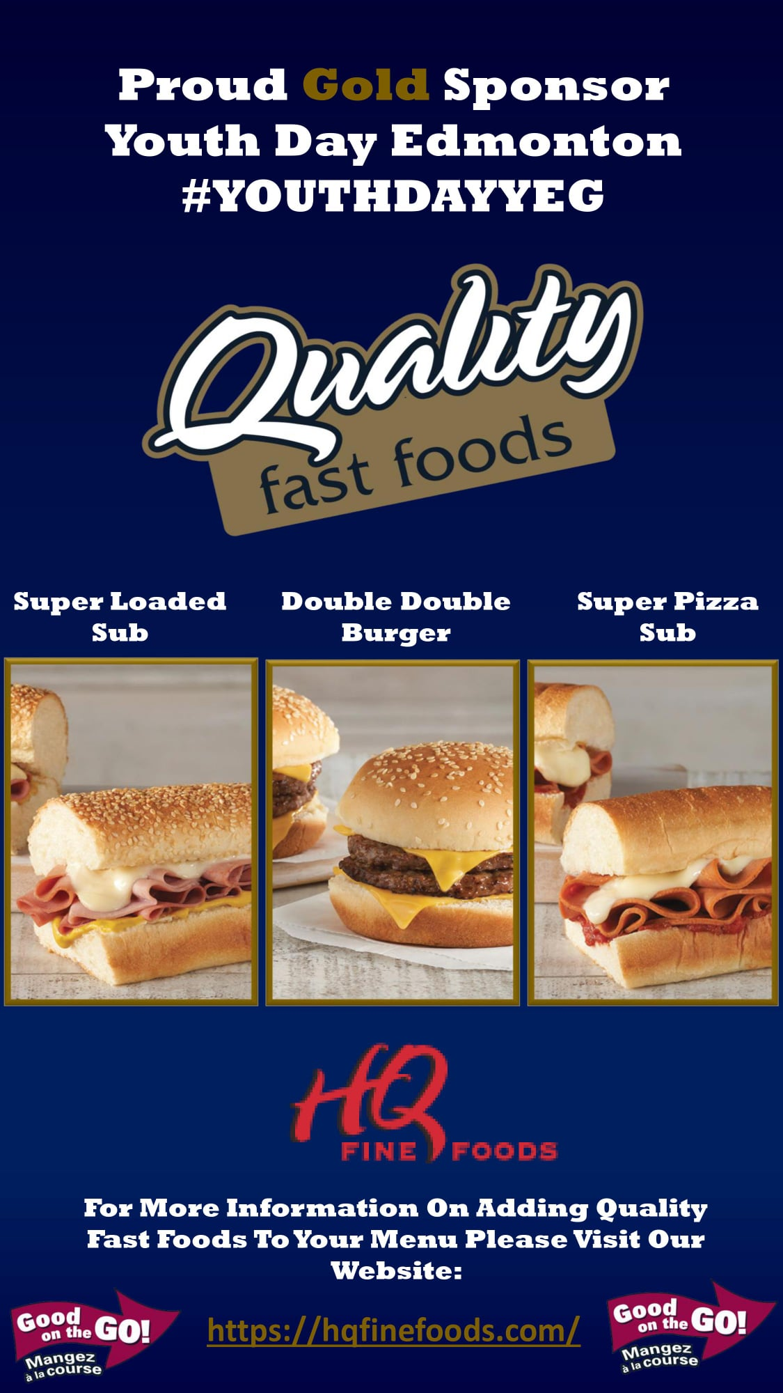 Image showcasing several Quality Fast Foods sandwiches and their role as a Gold sponsor for Youth Day Edmonton